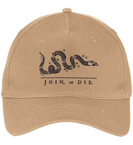 Join or Die Black Design Cap. Port & Co. Five Panel Twill Cap. (Embroidered)