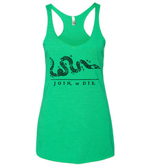 Join or Die. Black Print. Women's: Next Level Ladies Ideal Racerback Tank.