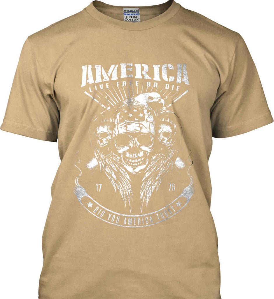 Did you America Today. 1776. Live Free or Die. Skull. White Print. Gildan Ultra Cotton T-Shirt.-5