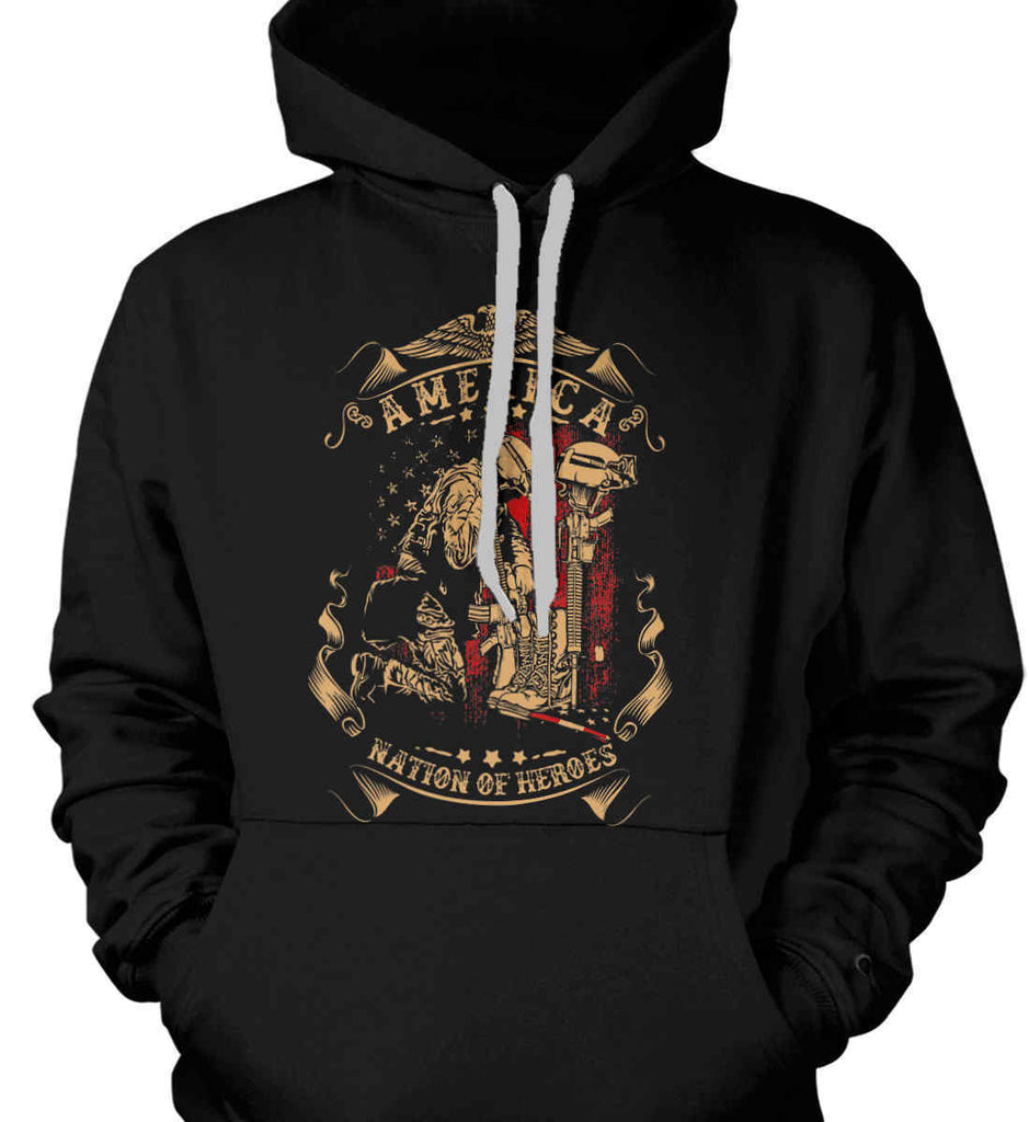 America A Nation of Heroes. Kneeling Soldier. Gildan Heavyweight Pullover Fleece Sweatshirt.-1