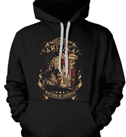 America A Nation of Heroes. Kneeling Soldier. Gildan Heavyweight Pullover Fleece Sweatshirt.