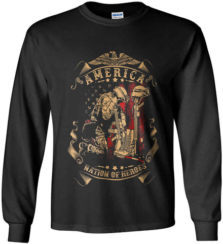 America A Nation of Heroes. Kneeling Soldier. Gildan Ultra Cotton Long Sleeve Shirt.