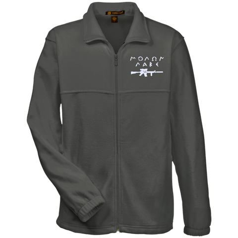 Molon Labe with Rifle. White. Harriton Fleece Full-Zip. (Embroidered)