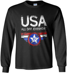 USA All Day Everyday. Gildan Ultra Cotton Long Sleeve Shirt.