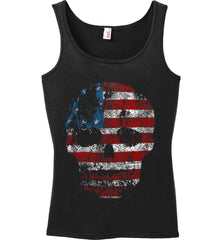 American Skull. Red, White and Blue. Women's: Anvil Ladies' 100% Ringspun Cotton Tank Top.