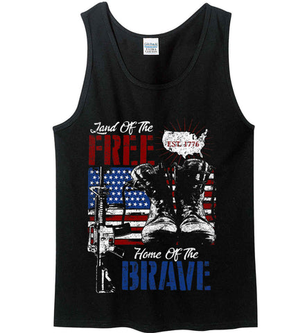 Land Of The Free. Home Of The Brave. 1776. Gildan 100% Cotton Tank Top.