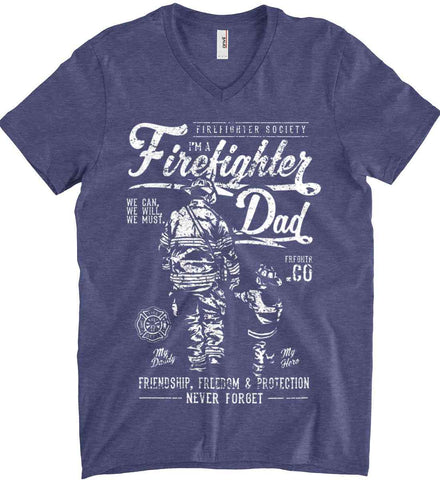 Firefighter Dad. Friendship, Freedom & Protection. White Print. Anvil Men's Printed V-Neck T-Shirt.
