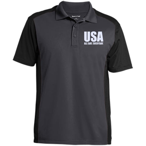 USA. All Day. Everyday. White Text. Sport-Tek Men's Colorblock Sport-Wick Polo. (Embroidered)