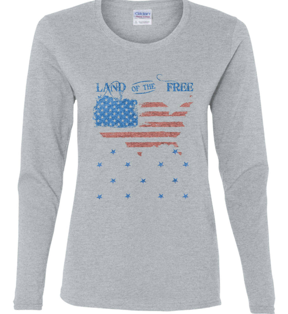 Land of the Free. Women's: Gildan Ladies Cotton Long Sleeve Shirt.-2