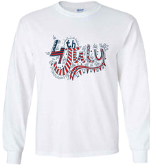 July 4th Red, White and Blue. Gildan Ultra Cotton Long Sleeve Shirt.