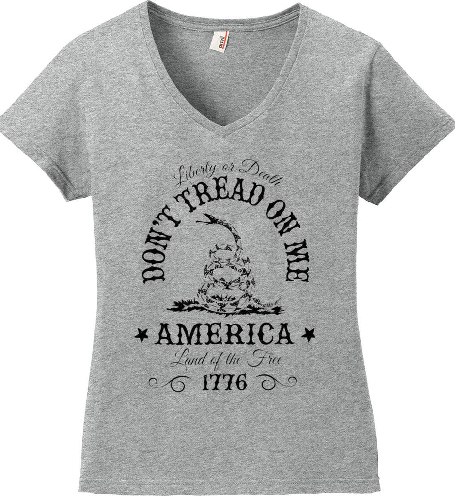 Don't Tread on Me. Liberty or Death. Land of the Free. Black Print. Women's: Anvil Ladies' V-Neck T-Shirt.-2