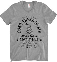 Don't Tread on Me. Liberty or Death. Land of the Free. Black Print. Anvil Men's Printed V-Neck T-Shirt.
