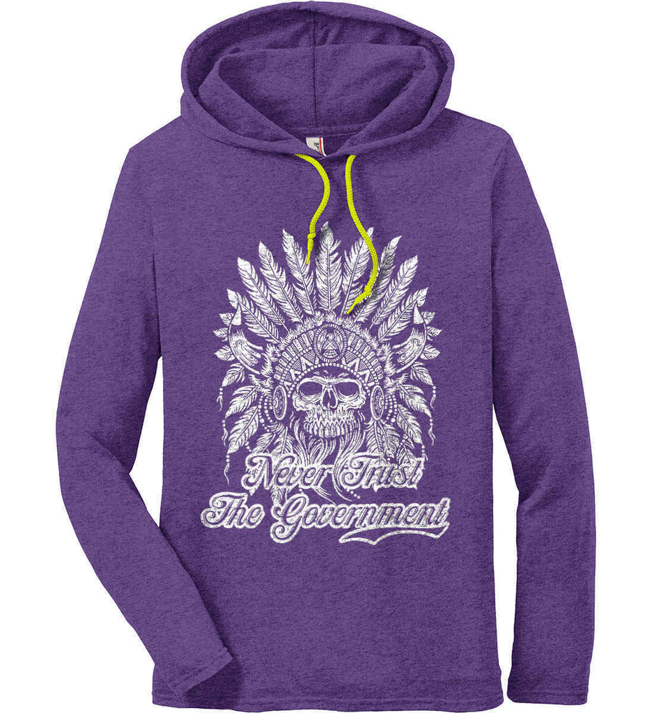 Never Trust the Government. Indian Skull. White Print. Anvil Long Sleeve T-Shirt Hoodie.-5