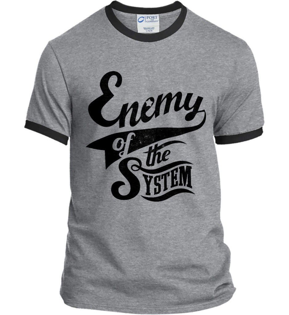 Enemy of The System. Port and Company Ringer Tee.-2