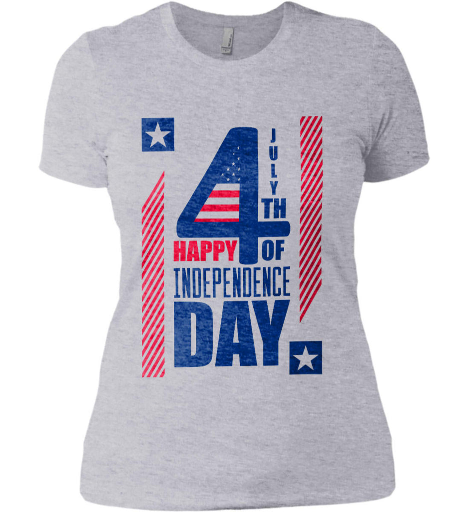 4th of July with Stars and Stripes. Women's: Next Level Ladies' Boyfriend (Girly) T-Shirt.-2