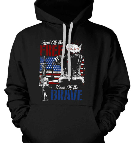 Land Of The Free. Home Of The Brave. 1776. Gildan Heavyweight Pullover Fleece Sweatshirt.