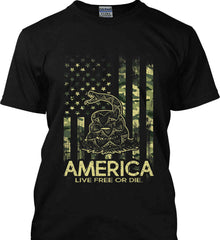 America. Live Free or Die. Don't Tread on Me. Camo. Gildan Tall Ultra Cotton T-Shirt.