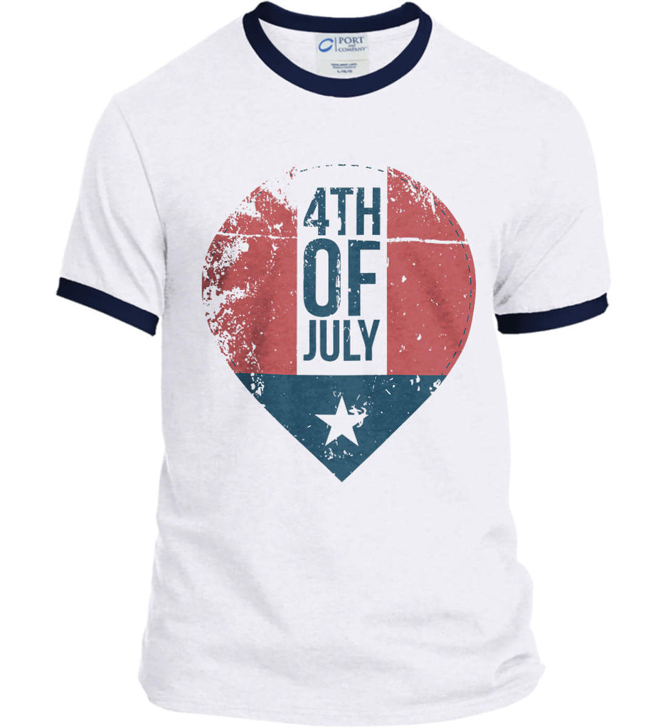 4th of July with Star. Port and Company Ringer Tee.-4