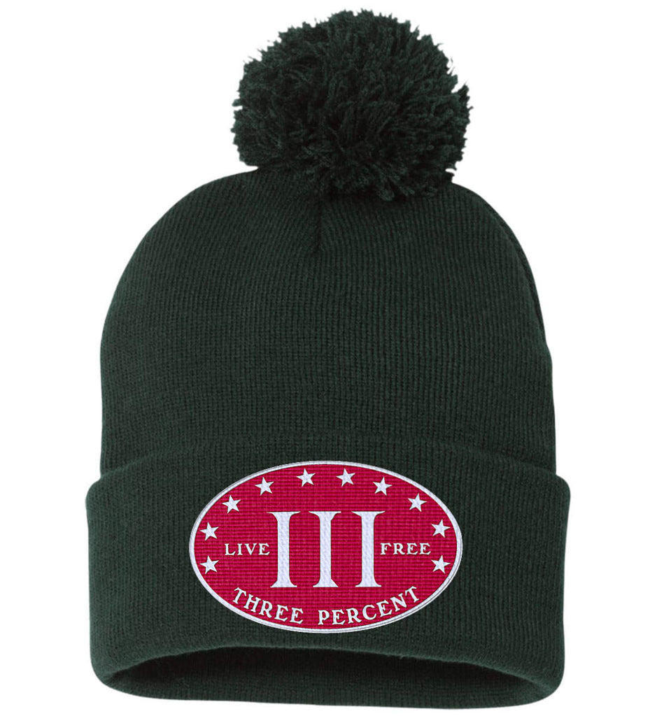 Three Percenter. Live Free. Hat. Sportsman Pom Pom Knit Cap. (Embroidered)-6