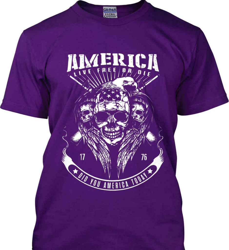 Did you America Today. 1776. Live Free or Die. Skull. White Print. Gildan Ultra Cotton T-Shirt.-8
