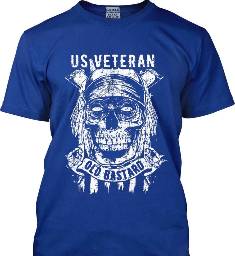 US Veteran. Skull on Flag. White Print. Gildan Ultra Cotton T-Shirt.-6