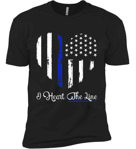 I Heart the Blue Line. Pro-Police. Next Level Premium Short Sleeve T-Shirt.
