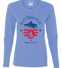 Don't Tread on Me. Snake on Shield. Red, White and Blue. Women's: Gildan Ladies Cotton Long Sleeve Shirt.