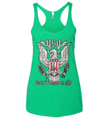 Don't Tread on Me. Eagle with Shield and Rattlesnake. Women's: Next Level Ladies Ideal Racerback Tank.