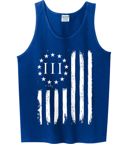 Three Percent on American Flag. White Print. Gildan 100% Cotton Tank Top.