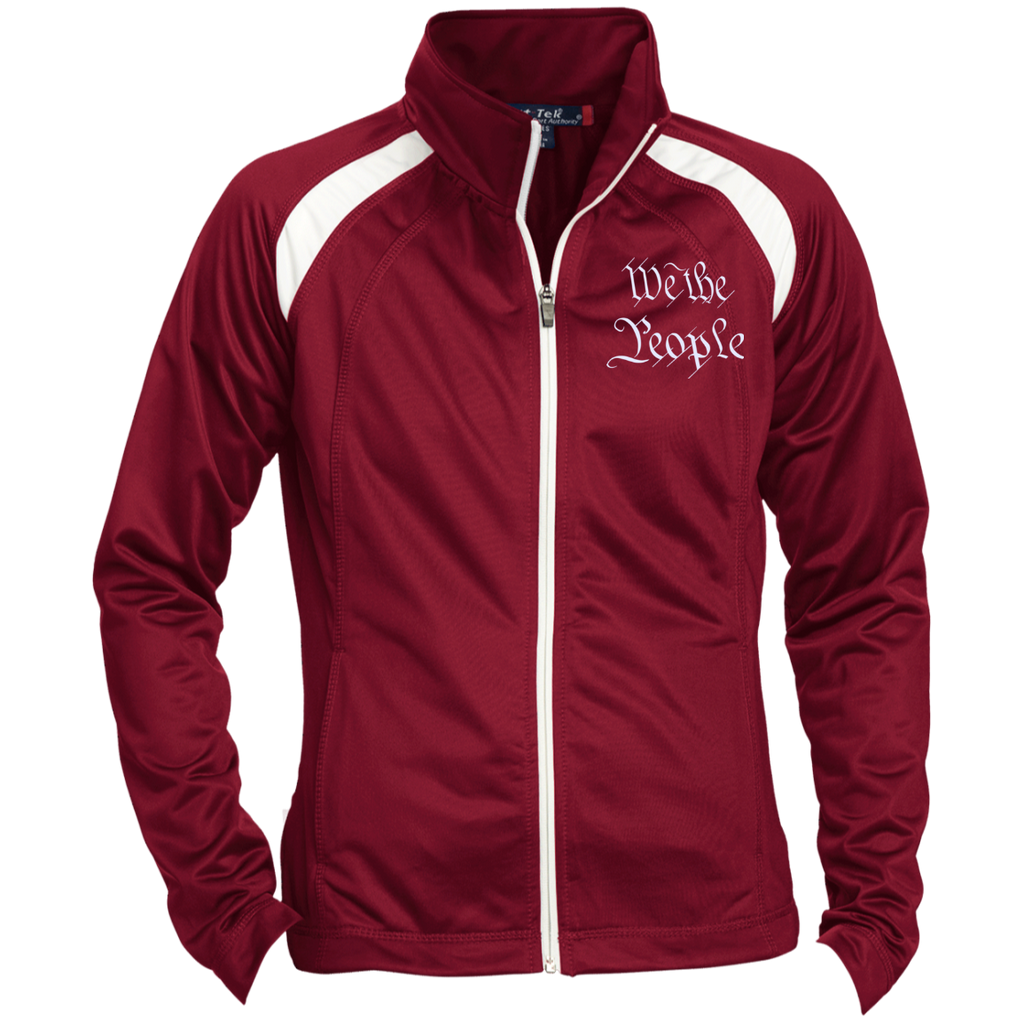 We the People. White Text. Women's: Sport-Tek Ladies' Raglan Sleeve Warmup Jacket. (Embroidered)-5