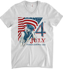 Patriot Flag. July 4th. Independence Day. Anvil Men's Printed V-Neck T-Shirt.