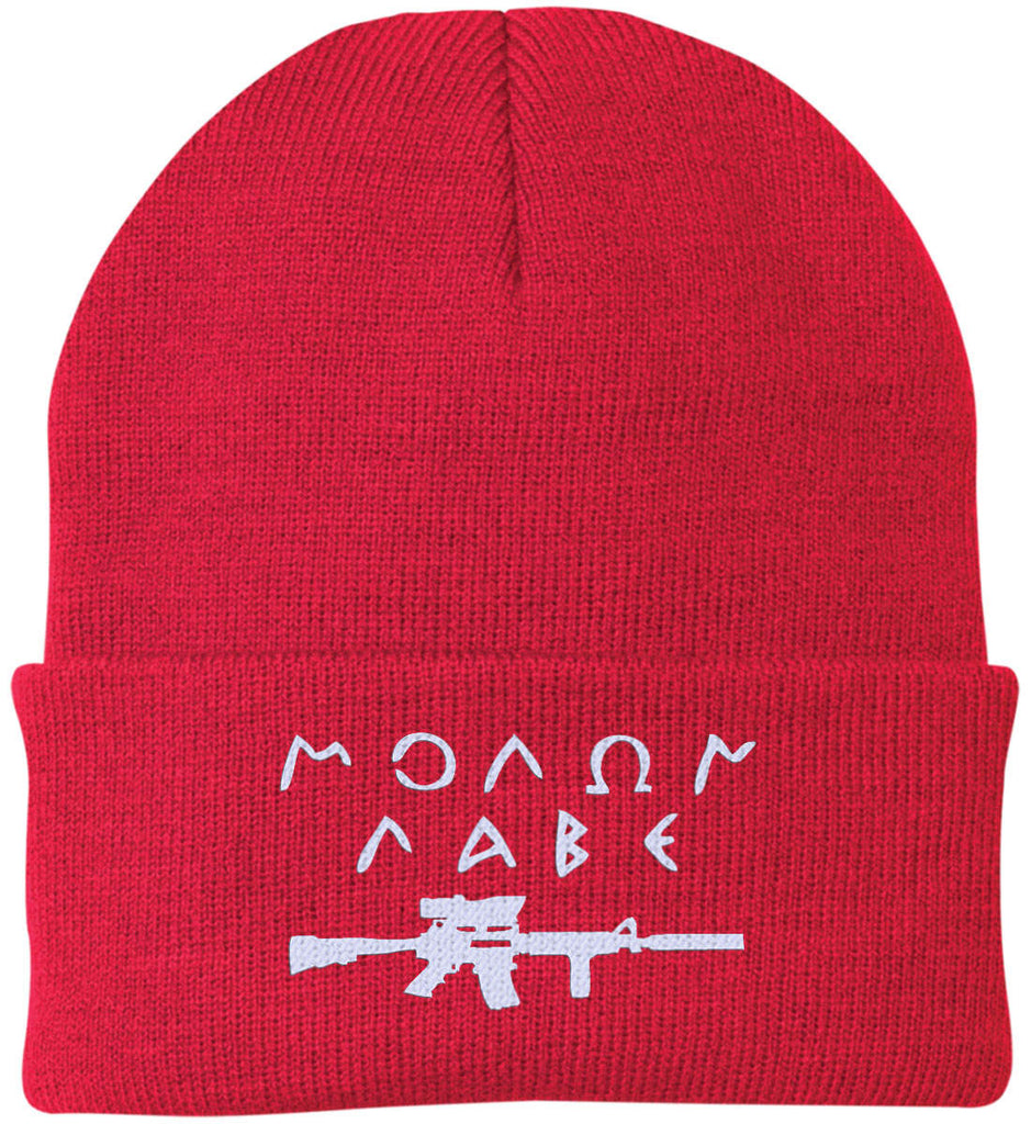 Molon Labe Rifle Hat. Port Authority Knit Cap. (Embroidered)-8