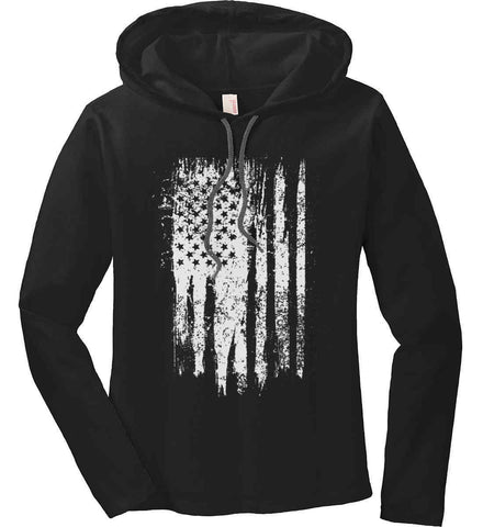 Grungy Grey USA Flag Women's: Anvil Ladies' Long Sleeve T-Shirt Hoodie.