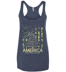 America. Live Free or Die. Don't Tread on Me. Camo. Women's: Next Level Ladies Ideal Racerback Tank.