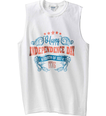 Happy Independence Day. Fourth of July. 1776. Gildan Men's Ultra Cotton Sleeveless T-Shirt.