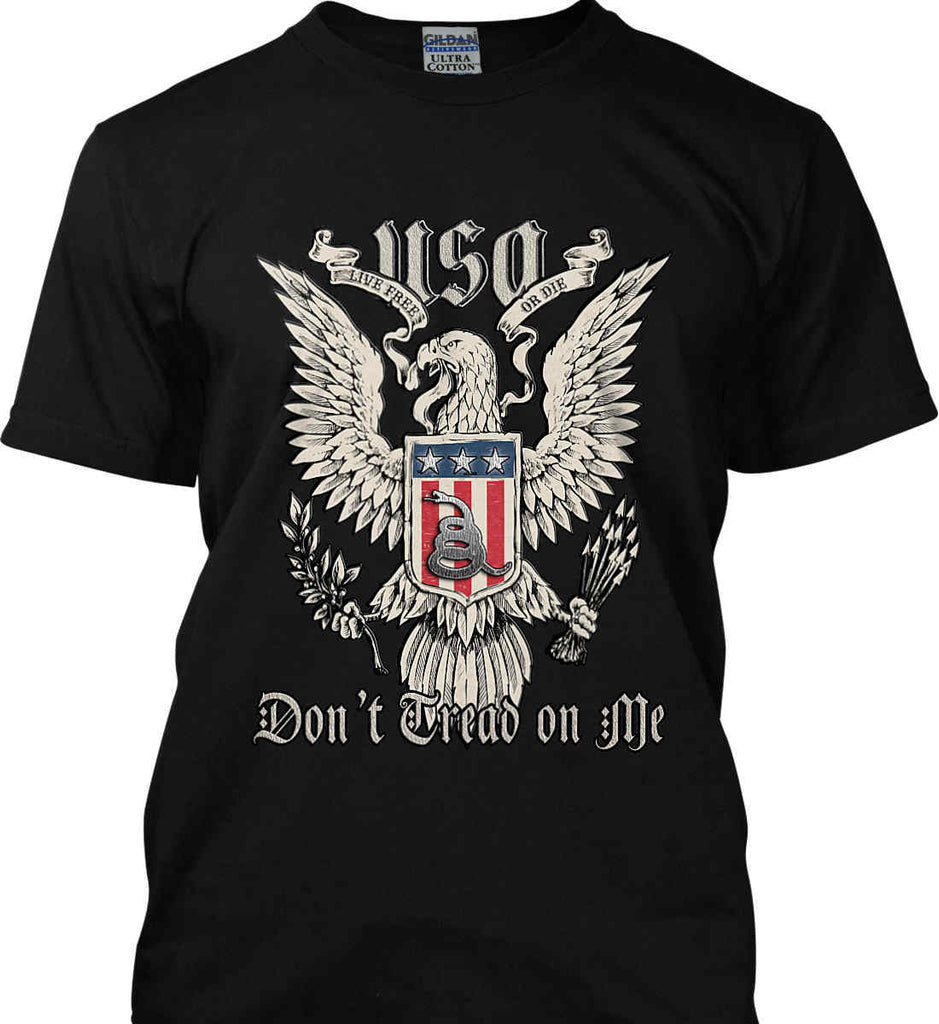 Don't Tread on Me. Eagle with Shield and Rattlesnake. Gildan Tall Ultra Cotton T-Shirt.-3