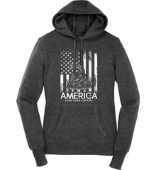 America. Live Free or Die. Don't Tread on Me. White Print. Women's: Sport-Tek Ladies Pullover Hooded Sweatshirt.