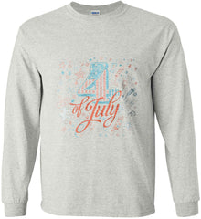 4th of July. Stars and Rockets. Gildan Ultra Cotton Long Sleeve Shirt.