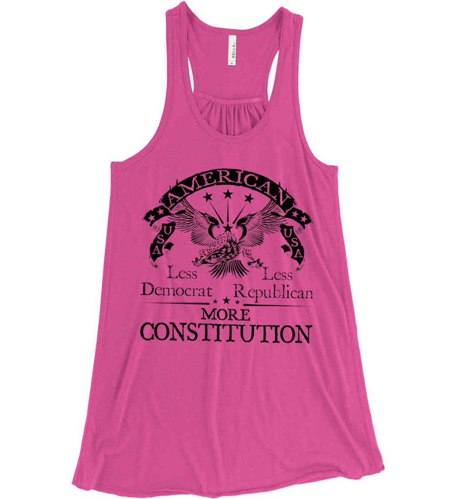 America: Less Democrat - Less Republican. More Constitution. Black Print Women's: Bella + Canvas Flowy Racerback Tank.-4