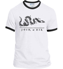 Join or Die. Black Print. Port and Company Ringer Tee.