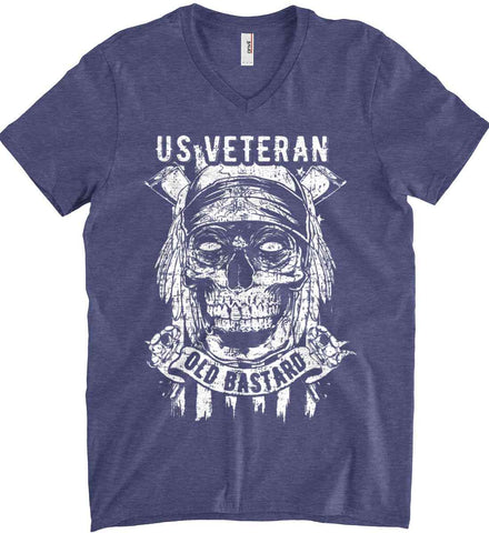 US Veteran. Skull on Flag. White Print. Anvil Men's Printed V-Neck T-Shirt.