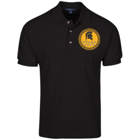 Molon Labe. Spartan Helmet. Yellow/Black. Port Authority Cotton Pique Knit Polo. (Embroidered)