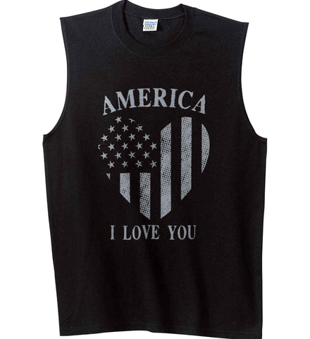 America I Love You Gildan Men's Ultra Cotton Sleeveless T-Shirt.