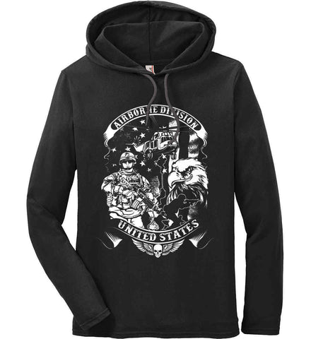 Airborne Division. United States. White Print. Anvil Long Sleeve T-Shirt Hoodie.