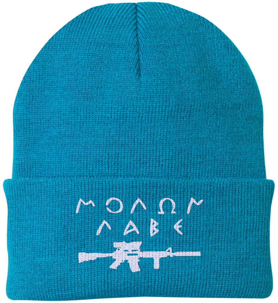 Molon Labe Rifle Hat. Port Authority Knit Cap. (Embroidered)-17