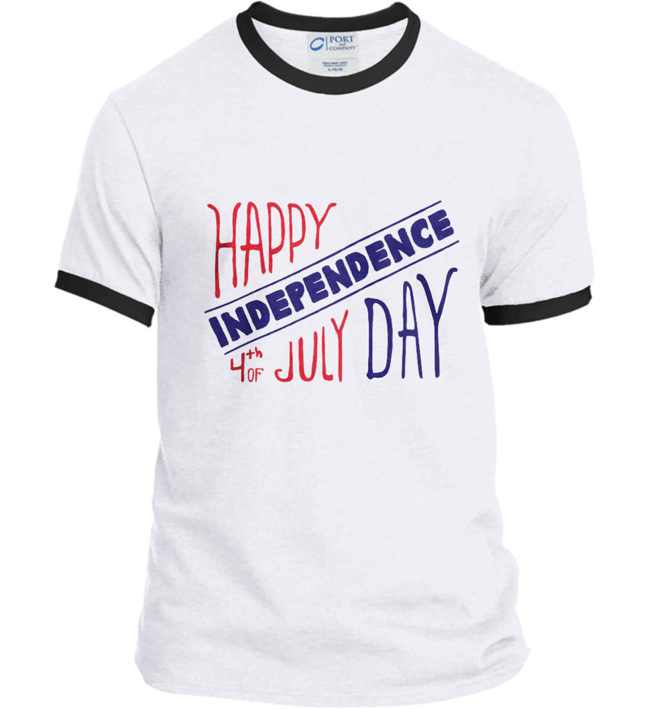 Happy Independence Day. 4th of July. Port and Company Ringer Tee.-2