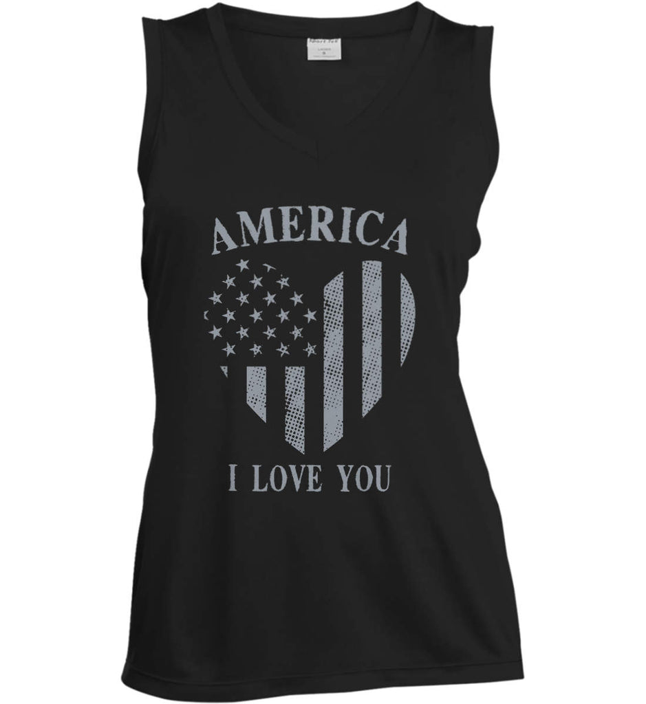 America I Love You Women's: Sport-Tek Ladies' Sleeveless Moisture Absorbing V-Neck.-1