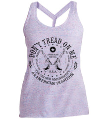 Don't Tread on Me: The Second Amendment: An American Tradition. Black Print. Women's: District Made Ladies Cosmic Twist Back Tank.