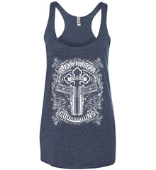 America Needs God and Guns. White Print. Women's: Next Level Ladies Ideal Racerback Tank.