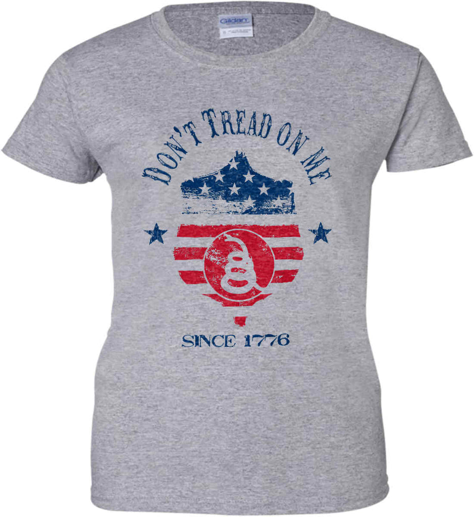Don't Tread on Me. Snake on Shield. Red, White and Blue. Women's: Gildan Ladies' 100% Cotton T-Shirt.-3